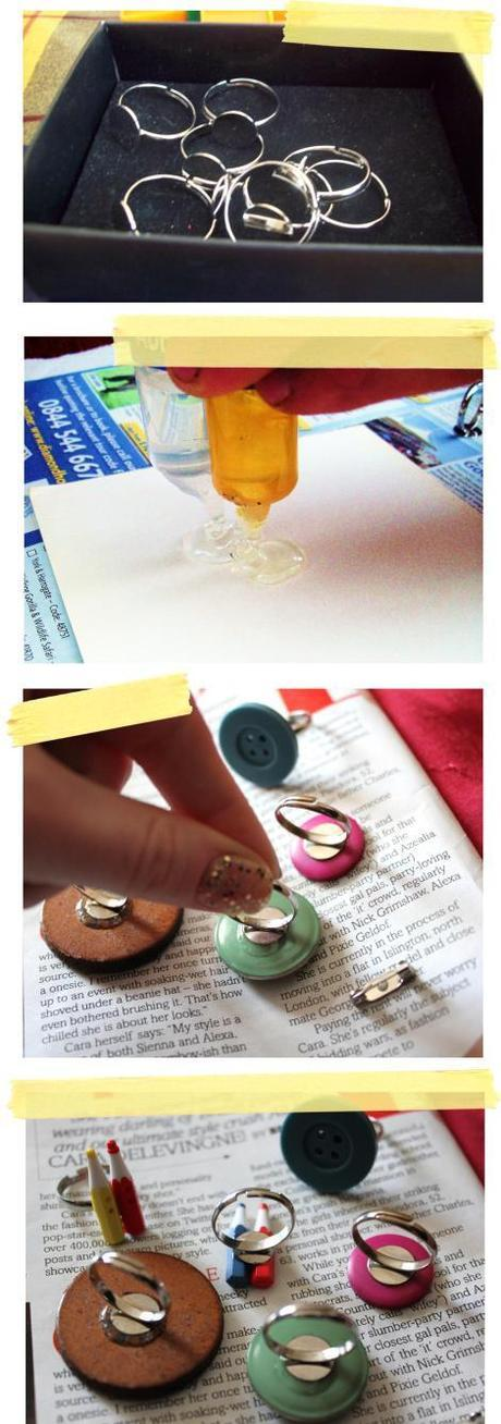 button up craft tutorial DIY jewelry making rings clips brooches from vintage buttons