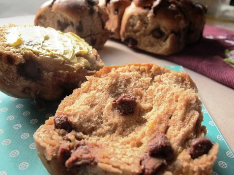 Chocolate chip hot cross buns with butter
