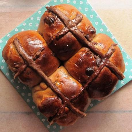 Four chocolate chip hot cross buns