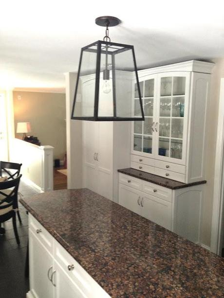 Kitchen Table, Shelves, And Light Fixture