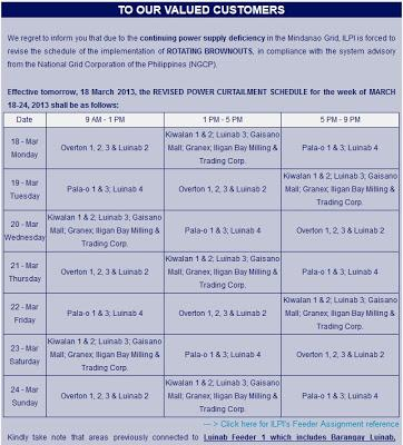 March 18-March 24, 2013 ILPI Rotataing Brownout Schedule