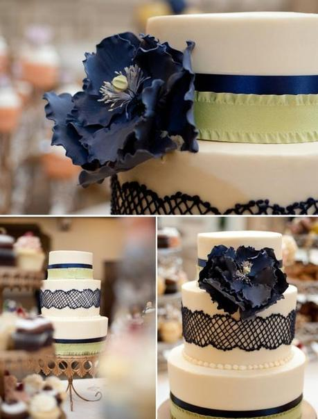 Navy and Green Wedding Cake