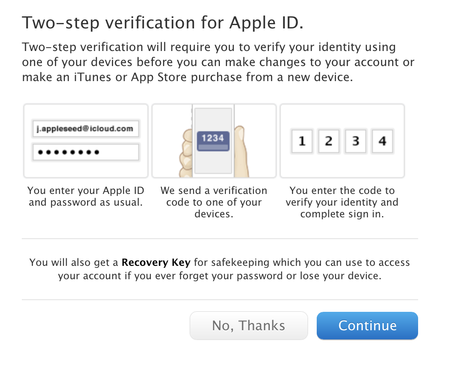 two step verification apple id and icloud