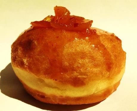 The Ring of Fire, a Polish doughnut (Paczki), filled with an apricot-caramel-red chili peppers. Tart, Sweet, and Hot.