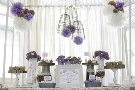 purple chocolate and dessert table by paper style co