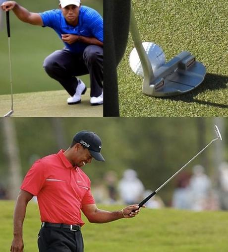 TOP: Tiger at Masters in 2011 with shaky Method putter lookinf justifiably concerned; BOTTOM: Tiger putting great at Doral with a Scotty Camercon knock-off Nike putter