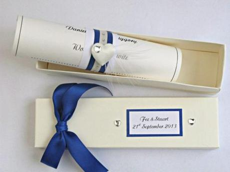 royal blue scroll invitation