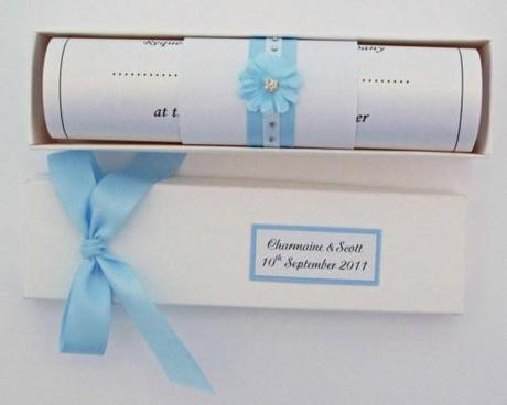 baby blue wedding invitation scroll