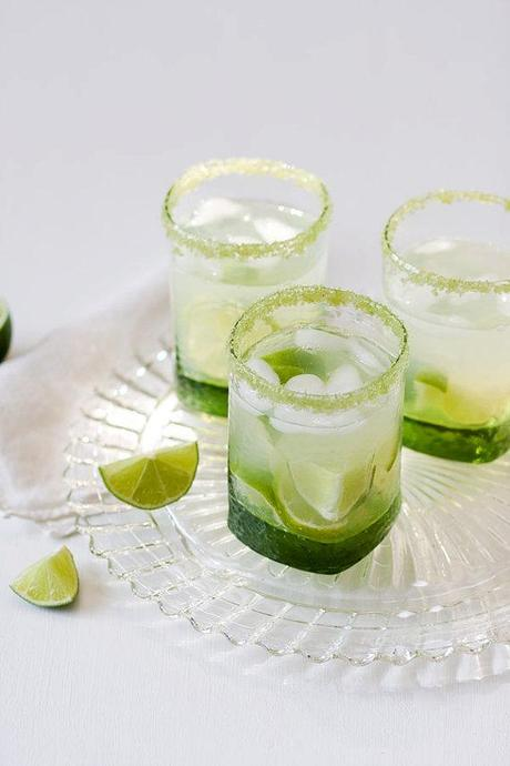 Lime sugar - lime flavored, green colored rimming sugar - for sweet margarita, caipirinha or mojito