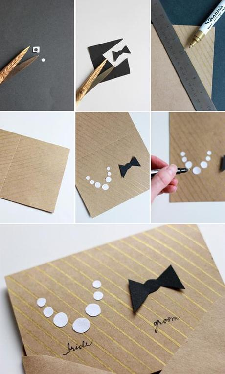 Make a homemade card for the wedding couple