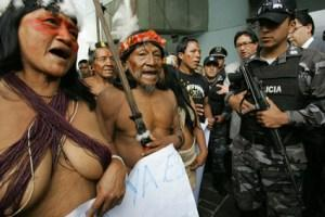 Huaorani Indigenous protest in Quito, Oct. 31, 2007, against oil extraction in their lands located in the country's Amazon.