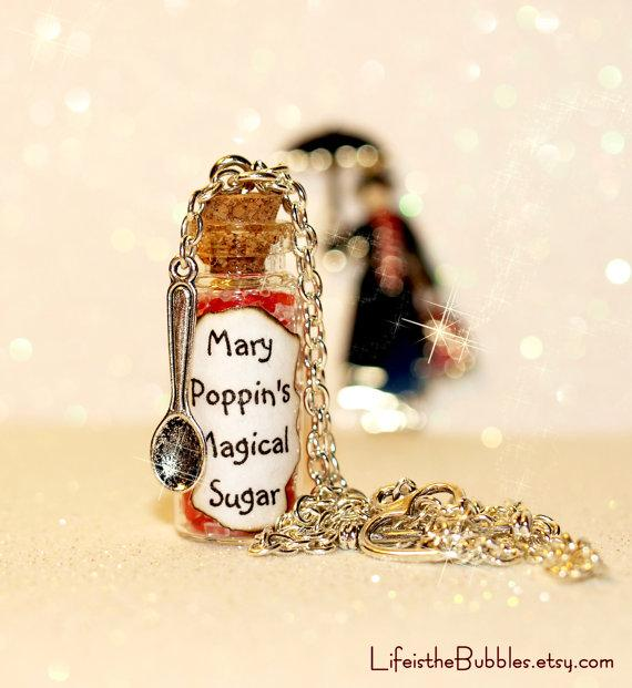 beautyfoodlife.blogspot.com,MARY POPPINS Spoonful of Magical Sugar Necklace including a Spoon Charm - UNIQUE