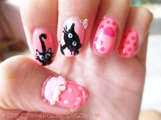 cat nail art, nail art, princess cat nail art, pink nail art, beautyfoodlife.blogspot.com