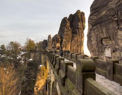 Walking down the sandstone Bastei Bridge