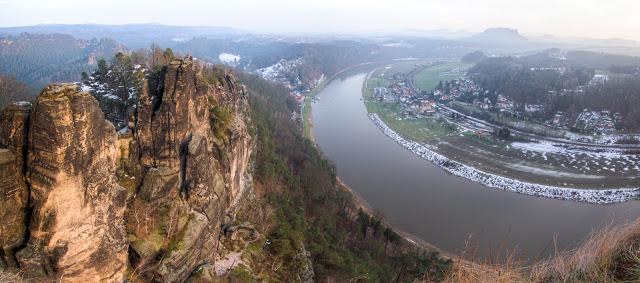 River Elbe Panorama from Bastei