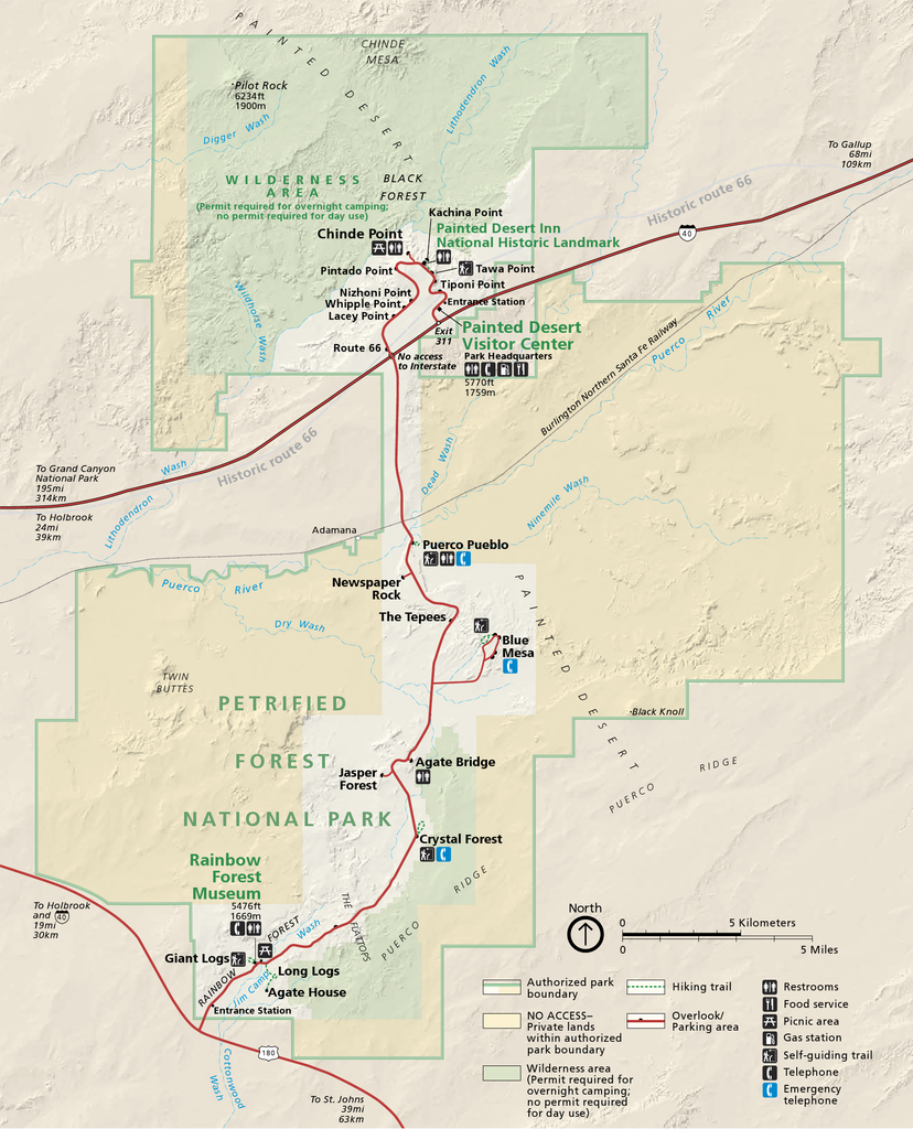 Map and Trip Planner for Petrified Forest National Park