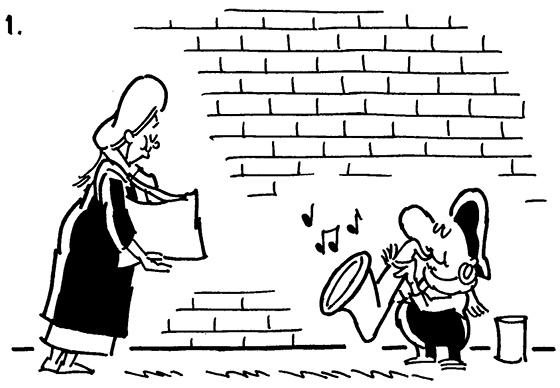 busker comic strip panel 1, woman approaching street musician playing saxophone, woman is reaching into her purse