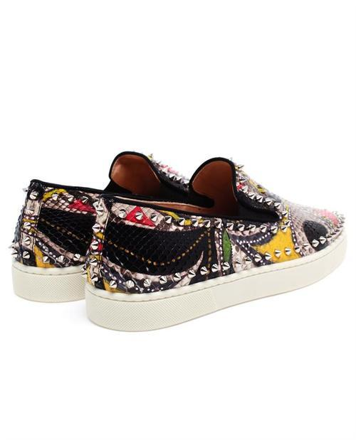christian louboutin mens pik spiked python boat shoes