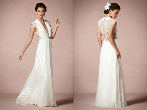Aisle style grecian style wedding gowns paperblog for Grecian wedding dress with sleeves