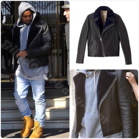 Kanye West in Paris wearing Louis Wong x A.P.C Biker Leather...