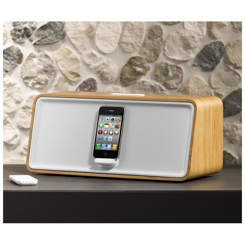 Bamboo / White Stereo Speaker for iPhone/iPod