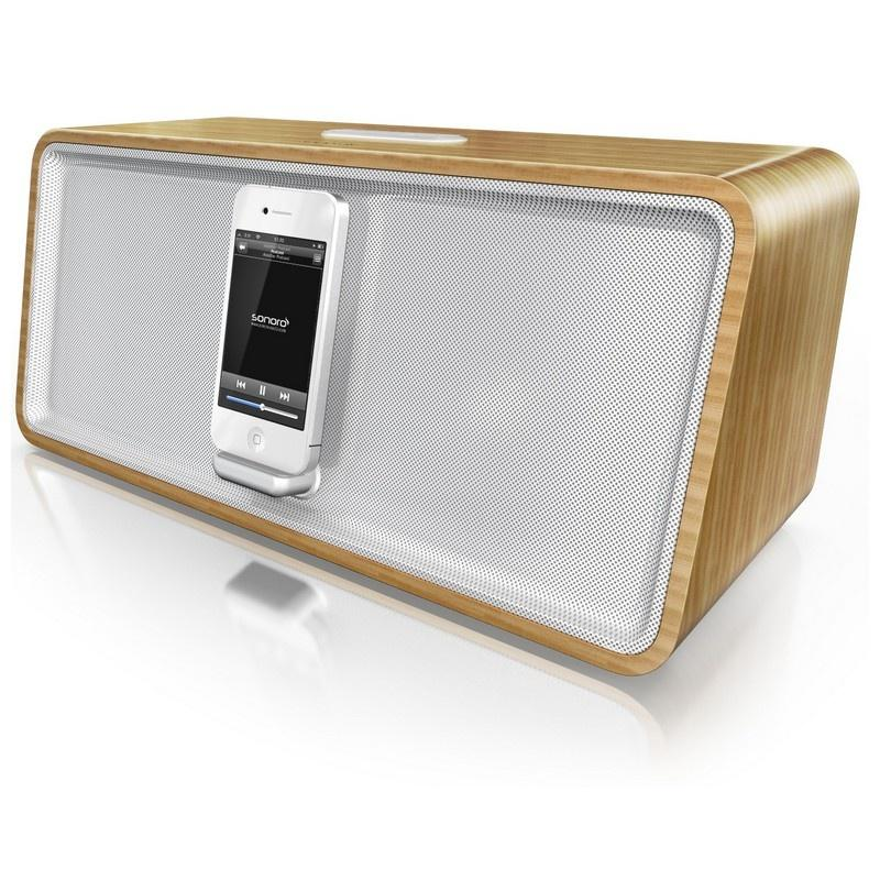 Bamboo / White CuboDock AU-7000 Stereo Speaker Dock by Sonoro