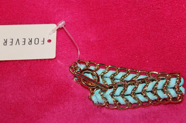 Mint green/ blue with gold metal pleating bracelet- Forever 21- £4.90