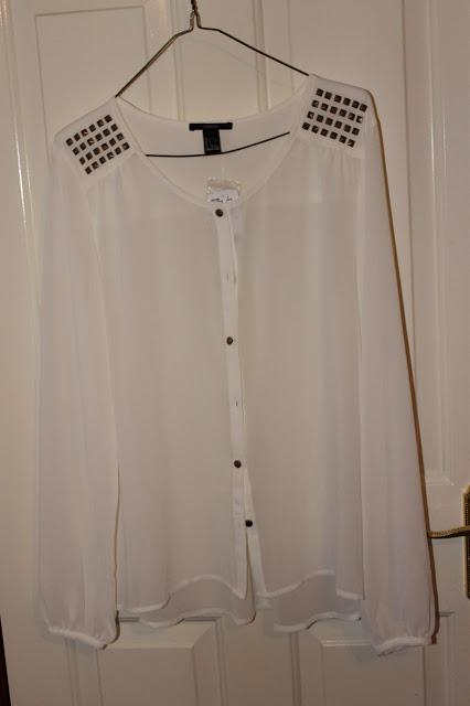 Cream sheer longsleeved shirt with gold stud detailing on the shoulder- Forever 21- £14.75