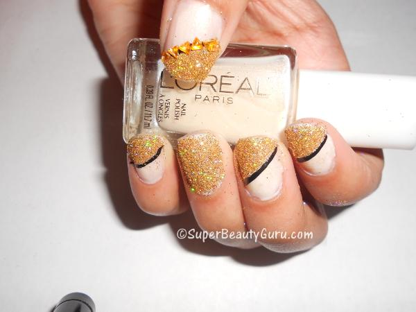 Gold Glittery Nail Tutorial