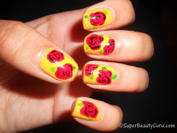 Rose Nail Tutorial - White Nails With Light Pink Roses. Beautiful Embellished Rose Nail