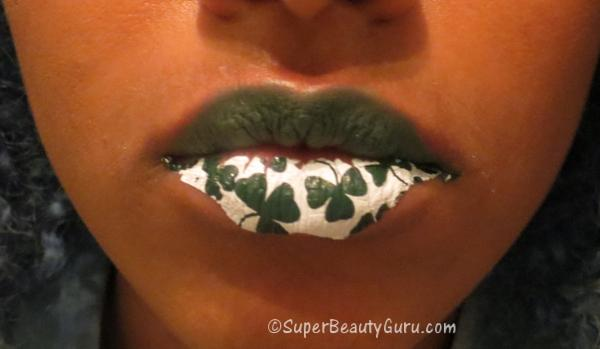 St. Patrick's Day Clover Lips Tattoo