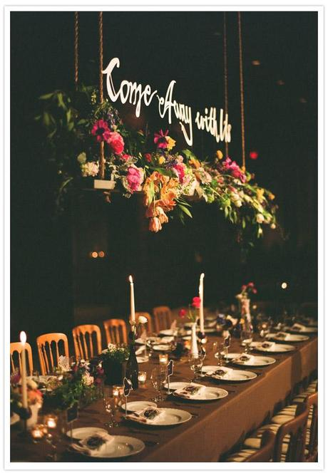 amy osaba come away with me, amy osaba hanging florals, amy osaba hanging centerpiece