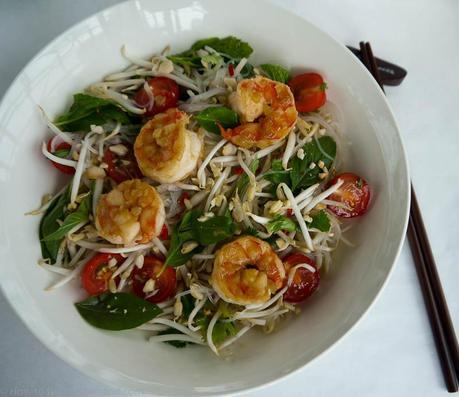 Thai Glass Noodle Salad with Caramelised Prawns