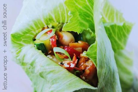Chickpeas and Vegetables Lettuce Wraps + Sweet Chilli Sauce