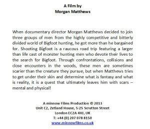 Blurb from Finding Bigfoot discusses scars incurred by Matthews in filming the movie.