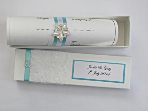 Wedding Scroll Invitation Eleanor In Turquoise And White