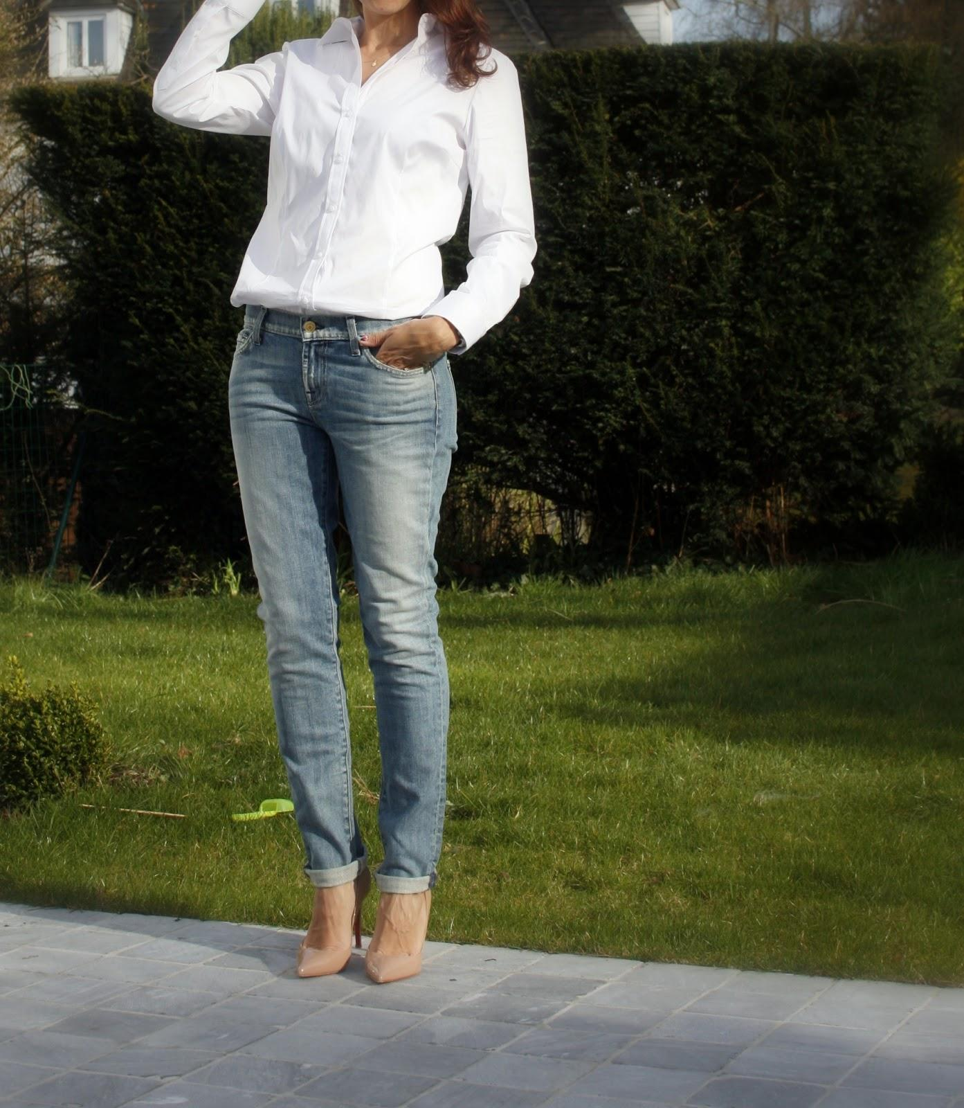 Crisp white shirt and vintage jeans paperblog for White pants denim shirt