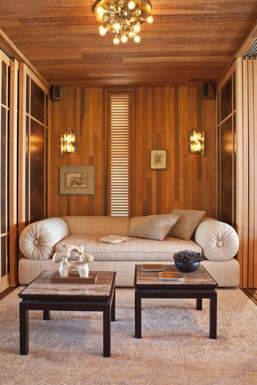 Kelly Wearstler beach house wood paneling sitting area