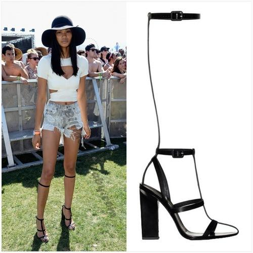 Chanel iman in alexander wang sandals at coachella chanel iman