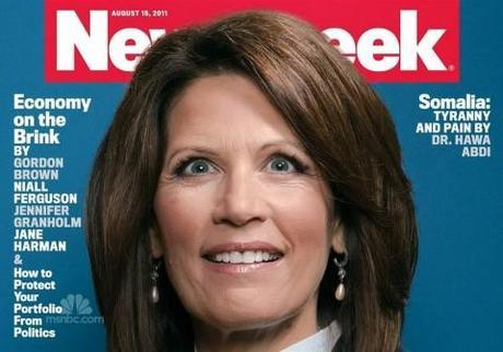 The Queen of Crazy? Michele Bachmann wide-eyed on the cover of Newsweek
