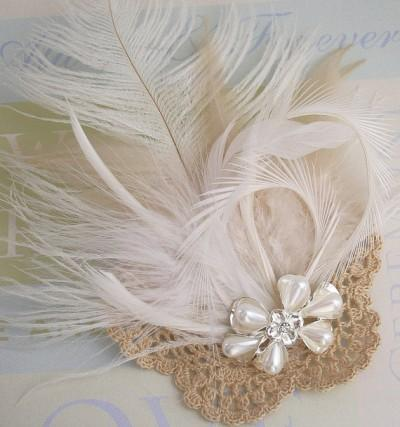 Look what I made: Vintage Crocheted and Feather Bridal Hat