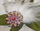 FUN White Saddle Feather n Large Cabachon Hair Fascinator-FREE Shipping