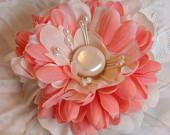 Handmade Silk Flower n Feather Bridal Hair Flower Hair Clip-Coral and White-FREE Shipping