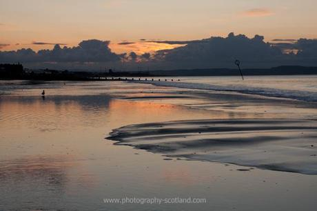 Photo - sunset over Porty beach, Edinburgh, Scotland