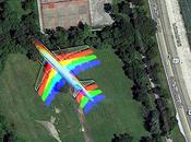 Google Maps Captures 'Rainbow' Plane Flight Over Chicago