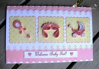 Handmade welcome baby girl greeting card with paper quilling paperblog handmade welcome baby girl greeting card with paper quilling m4hsunfo