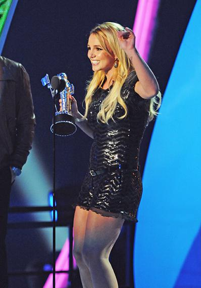 Britney Spears is teary-eyed while thanking fans for yet another Moonman at the 2011 MTV Video Music Awards in Los Angeles.