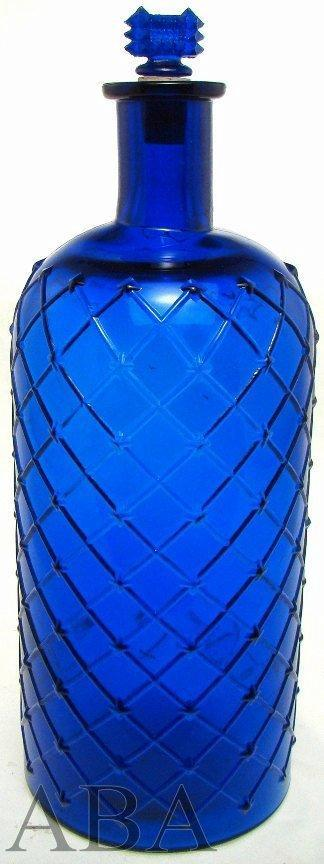 QUILTED POISON half-gallon blue antique bottle w/skull and crossbones - Lot 73 - American Bottle Auction