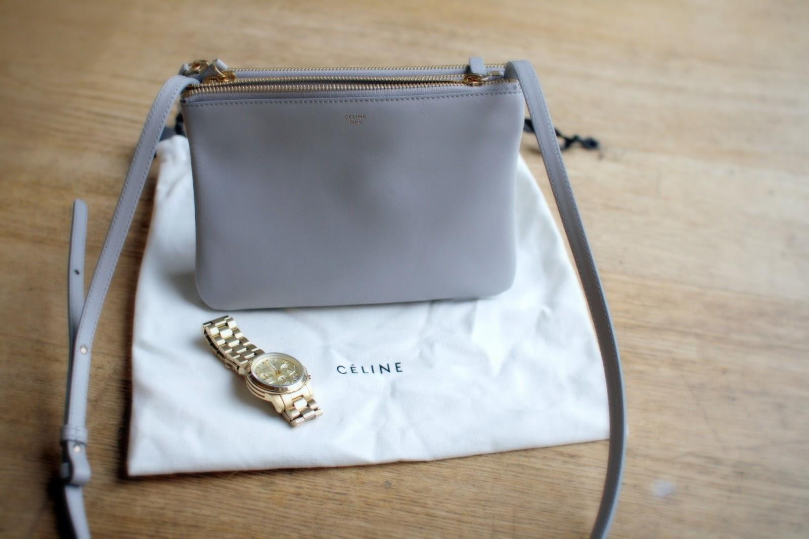 celine grey leather travel bag trio 6dd0e672c7