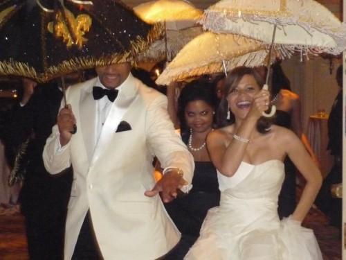 Montez And Kelly Anderson Second Lining At Their Traditional New Orleans Wedding